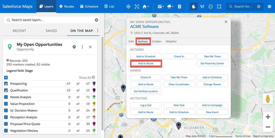 The marker layer is plotted on the map. This displays as pins on the map. One pin from the map view is selected. A popup box is displayed and buttons, such as, log a call, new event and add to route are listed under the Actions tab.
