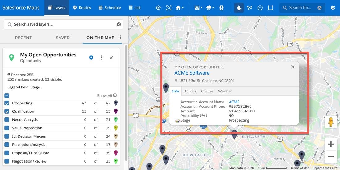 The marker layer is plotted on the map. This displays as pins on the map. One pin from the map view is selected. A popup box is displayed and tooltip options are listed, such as the account name Acme Software and phone number. They appear in the popup box under the info tab.