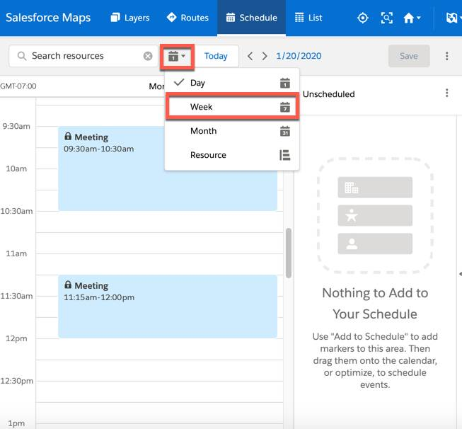 The Schedule tab is selected and two scheduled appointments appear as meetings under the scheduled tab. The calendar icon is selected and the week view is highlighted.