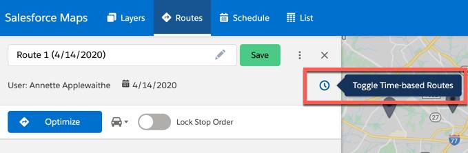 The icon used to toggle on Time-based routes is highlighted under the routes tab.