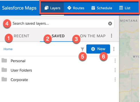 Screenshot shows the left sidebar of the Salesforce Maps user interface. The following tabs are highlighted, Layers, Routes, Schedule, and List. The available options under the Layers tab are numbered.