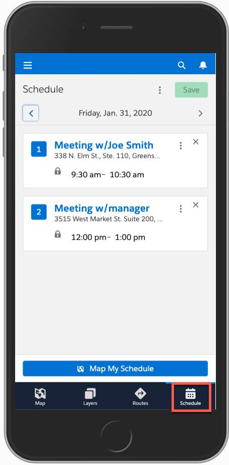 Screenshot shows a mobile phone with the schedule tab highlighted. A schedule is displayed on the phone.