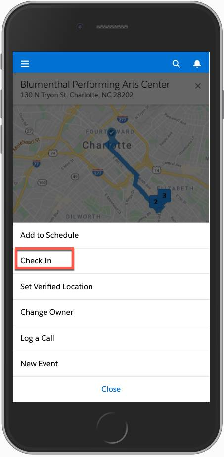 Screenshot highlights the check-in button on a mobile phone.