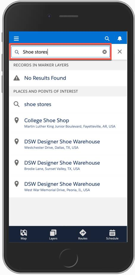 Screenshot shows the search bar in Salesforce Maps on a mobile phone.