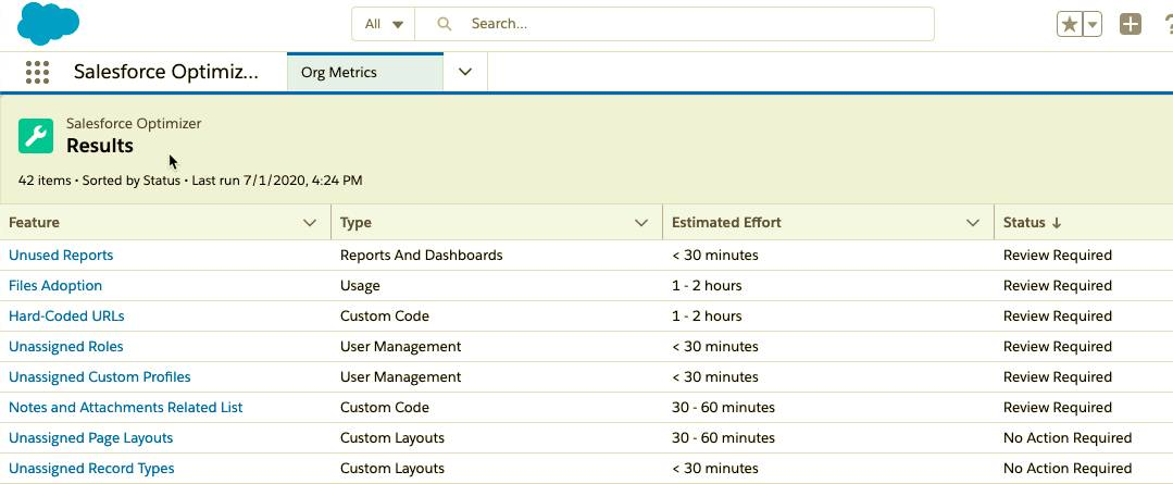 Screenshot of Salesforce Optimizer's list of findings