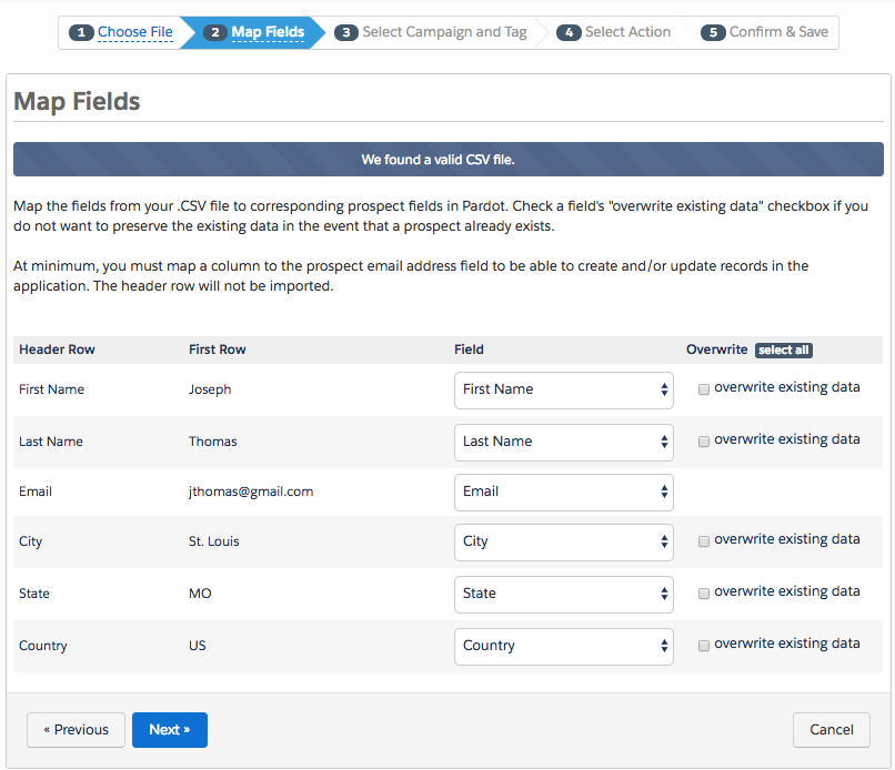 The Map Fields page, showing Pardot's suggested mappings
