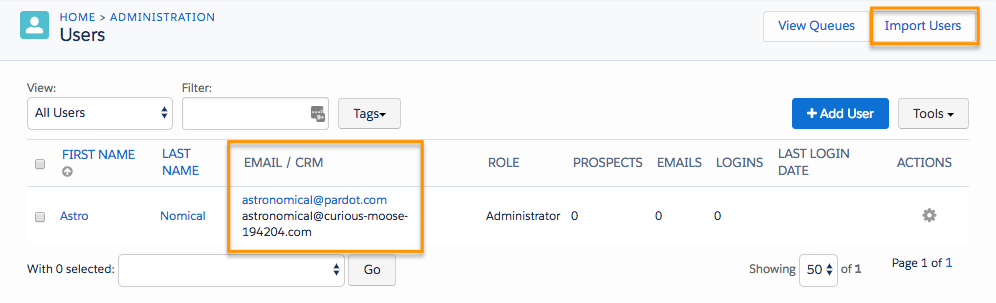 Users page, showing the Import Users button and the Email / CRM column