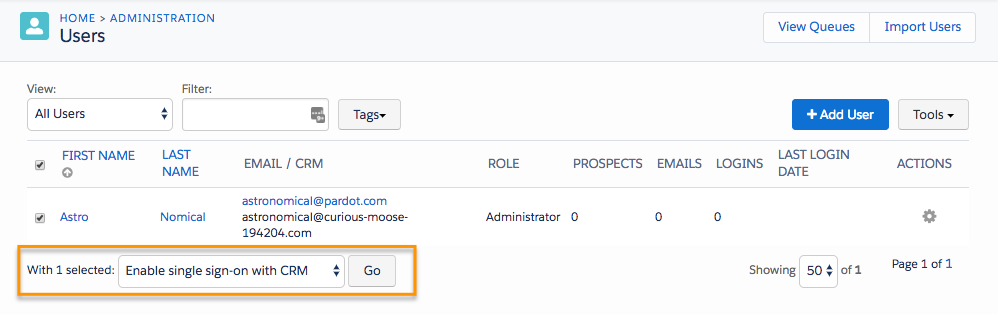 "Users page, showing the user record selected and the automation action ""Enable single sign-on with CRM"" applied"