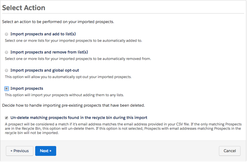 The Select Action page, showing the Import prospects option selected