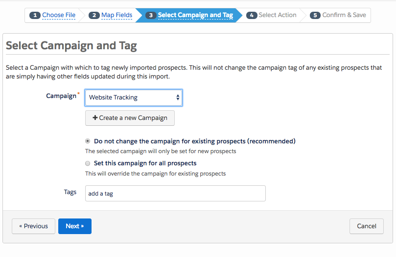 The Select Campaign and Tag page
