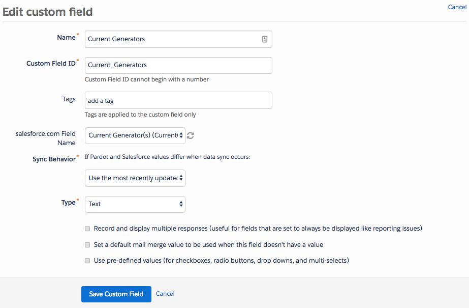 The Edit custom field page in Pardot