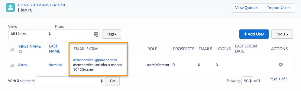 [ユーザー] ページ。[メール/CRM] 列に Pardot ユーザ名と CRM ユーザ名が一緒に表示されています。