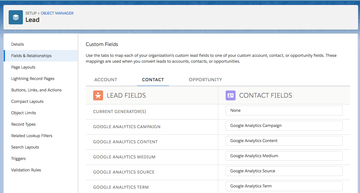 The Contact tab on the Custom Fields page, showing Google Analytics Lead Fields mapped to corresponding Google Analytics Contact Fields