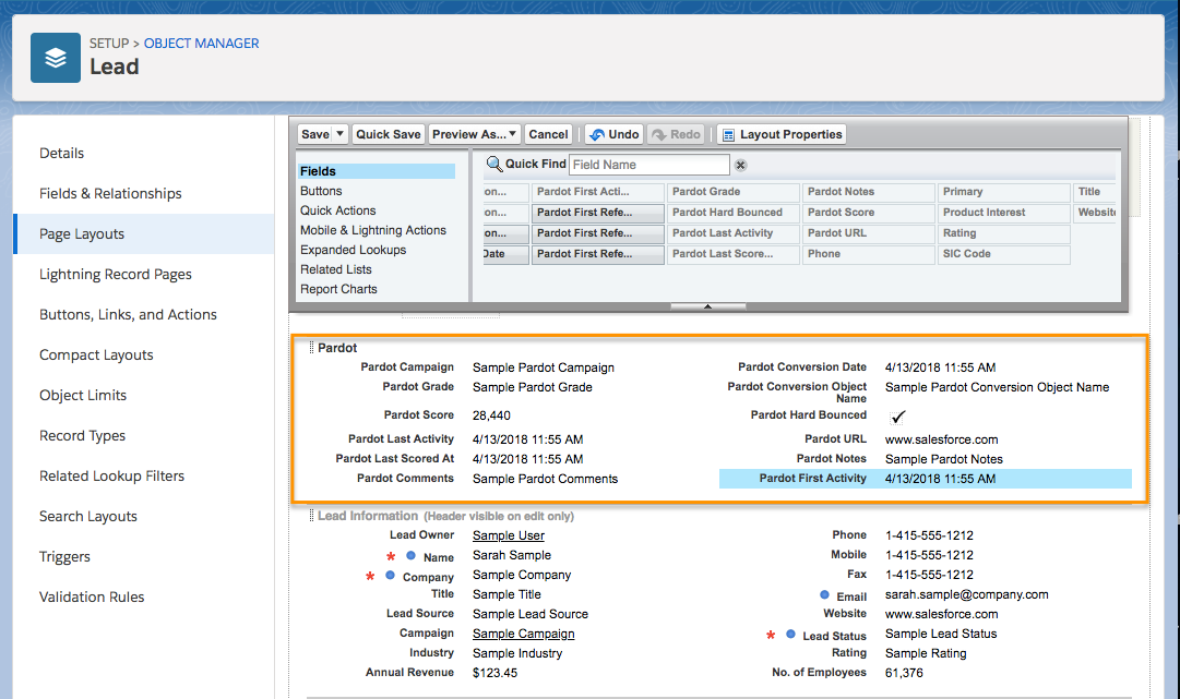 Lead Page Layout page, showing available Pardot fields
