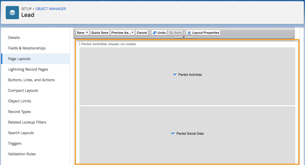 Pardot Activities and Pardot Social Data on the Lead Page Layout