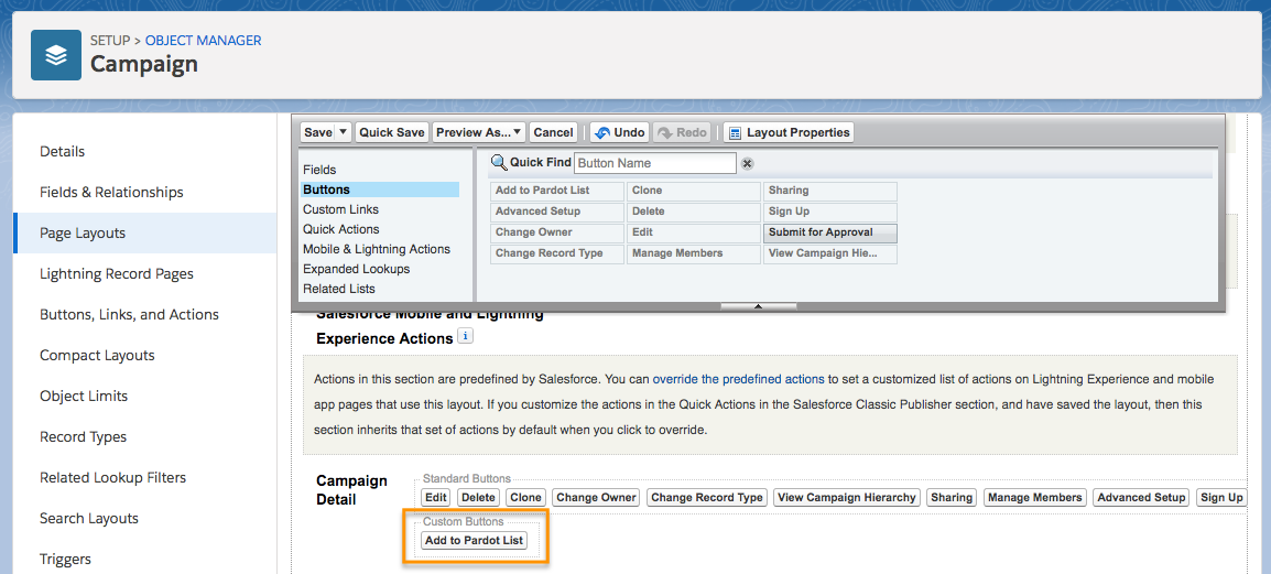 Campaign Page Layout, showing the custom Add to Pardot List button placed on the Campaign Detail section in the Custom Buttons area