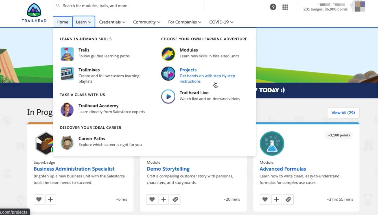 The Learn menu on Trailhead provides links to Trails, Trailmixes, Modules, Projects, Trailhead Live, Trailhead Academy, and Career Paths.