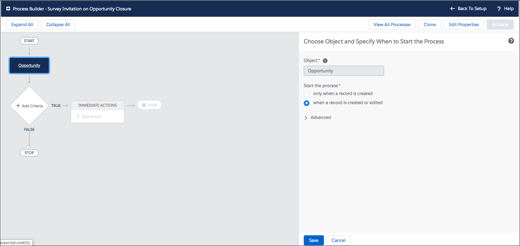 Process Builder with the Choose Object and Specify When to Start the Process step open.