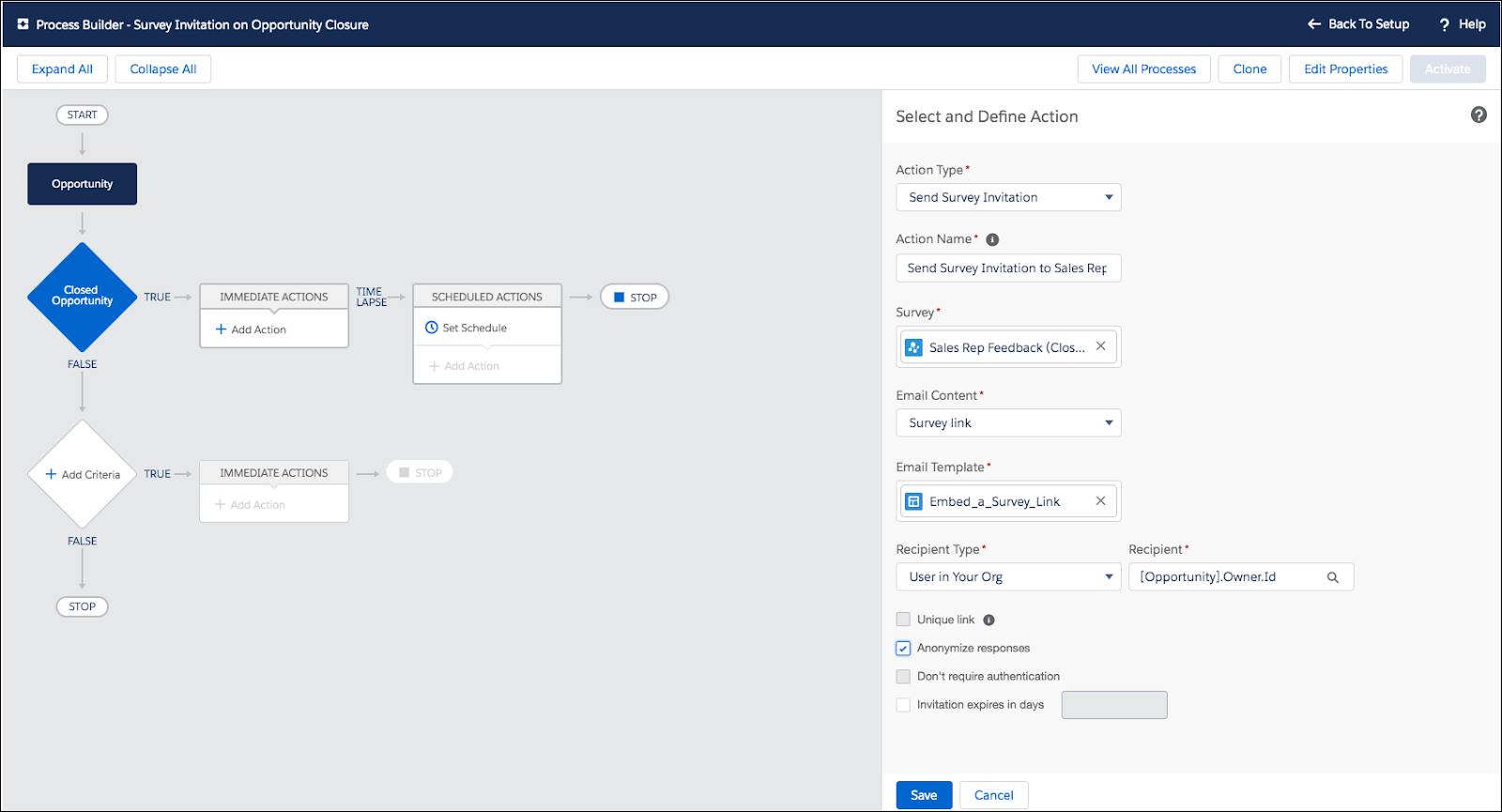 Process Builder with the Select and Define Action step open.
