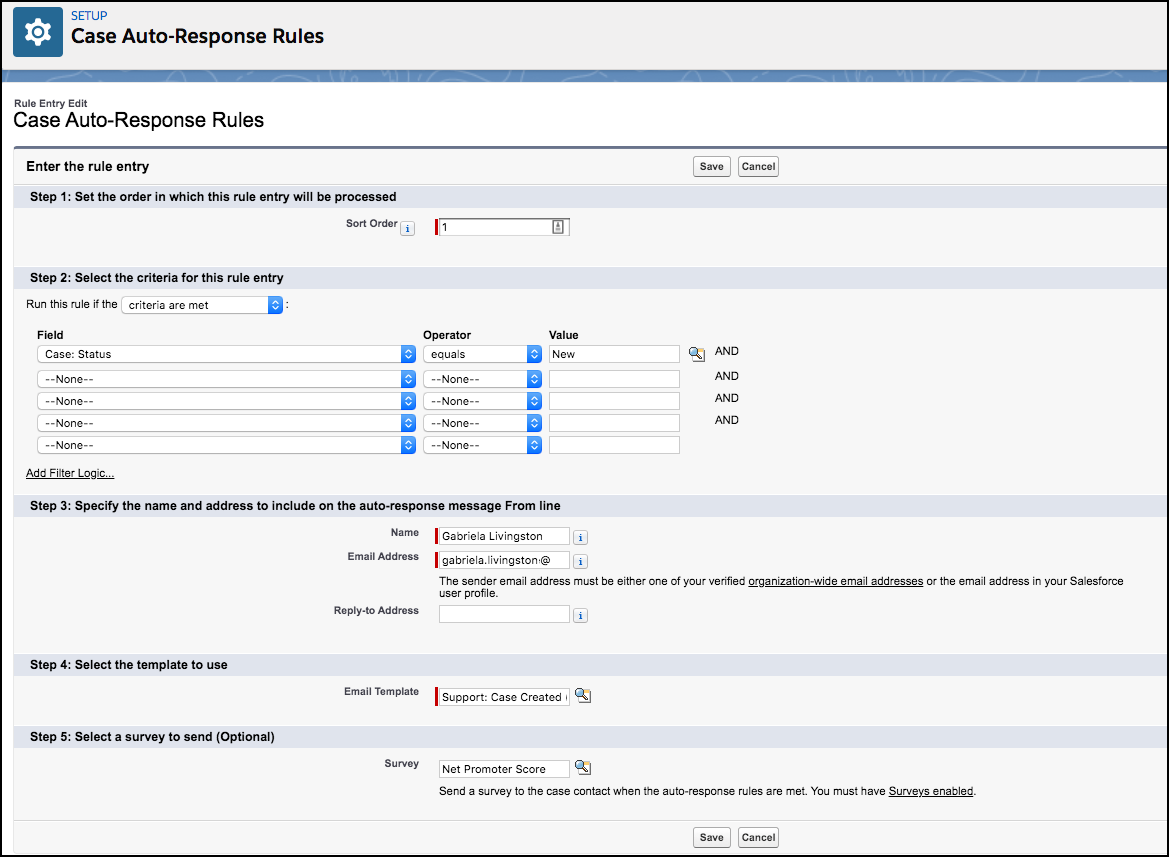 Alt text: Case Auto-Reponse Rules page with Net Promoter Score survey selected.