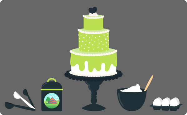 An illustration of a giant cake and some ingredients