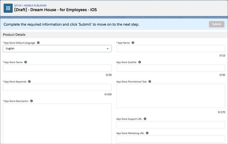 Os campos de formulário para o aplicativo iOS