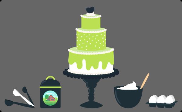 Ilustração de um bolo gigante e alguns ingredientes