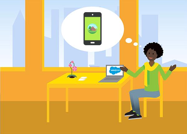 O administrador da DreamHouse pensando em seu novo aplicativo móvel com marca
