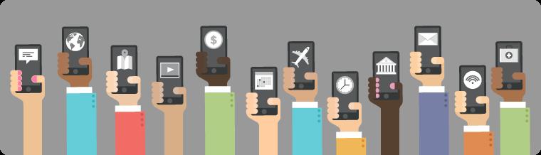 Uma ilustração de celulares sendo usados para várias tarefas