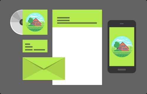 Uma coleção de ativos de marca que inclui um aplicativo móvel