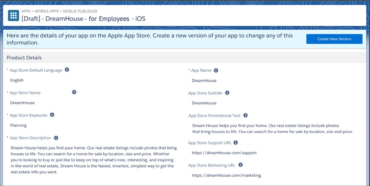 A versão publicada do aplicativo iOS da Dream House no Salesforce