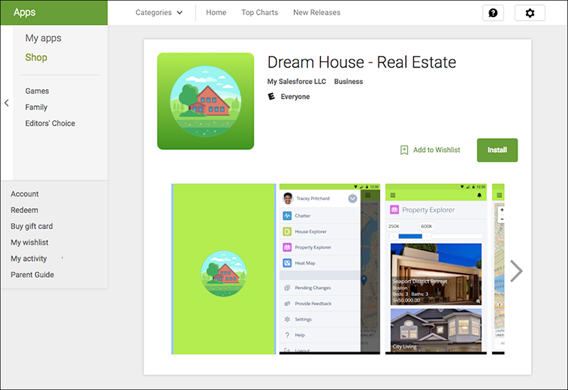 The Google Play listing for the Dream House mobile app
