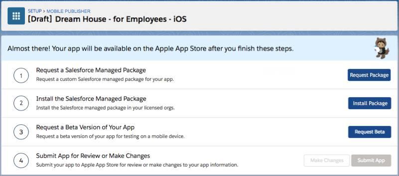El botón Solicitar paquete en la página de estado de la aplicación para iOS