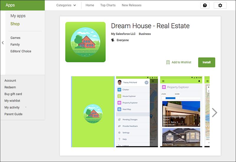 El listado de Google Play para la aplicación móvil DreamHouse
