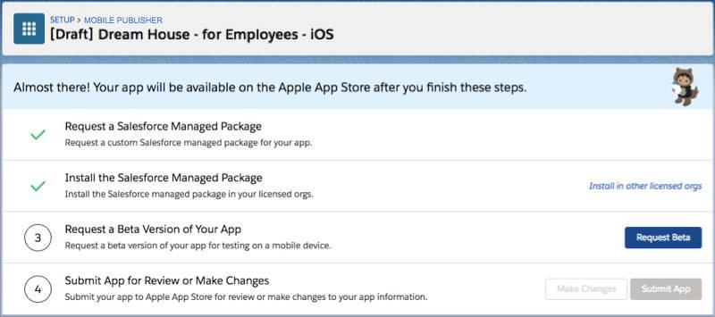 El botón Solicitar beta en la página de estado de la aplicación para iOS