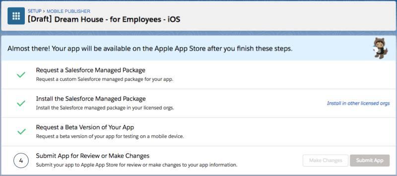 El botón Enviar aplicación en la página de estado de la aplicación para iOS