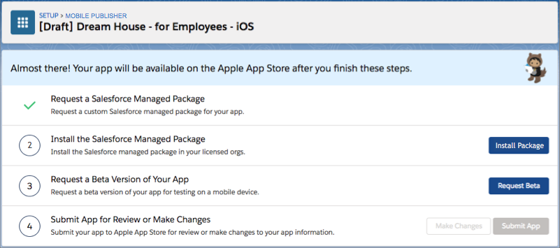 The Install Package button on the iOS app's status page