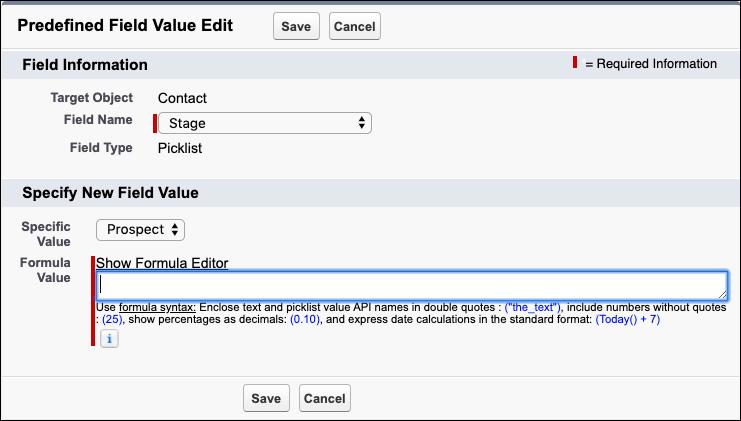Una captura de pantalla del valor predefinido para el campo Etapa