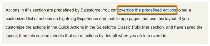 Una captura de pantalla del vínculo Sustituir las acciones predefinidas en el Publicador