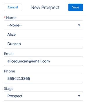 A screenshot of the prospect's details in Salesforce1