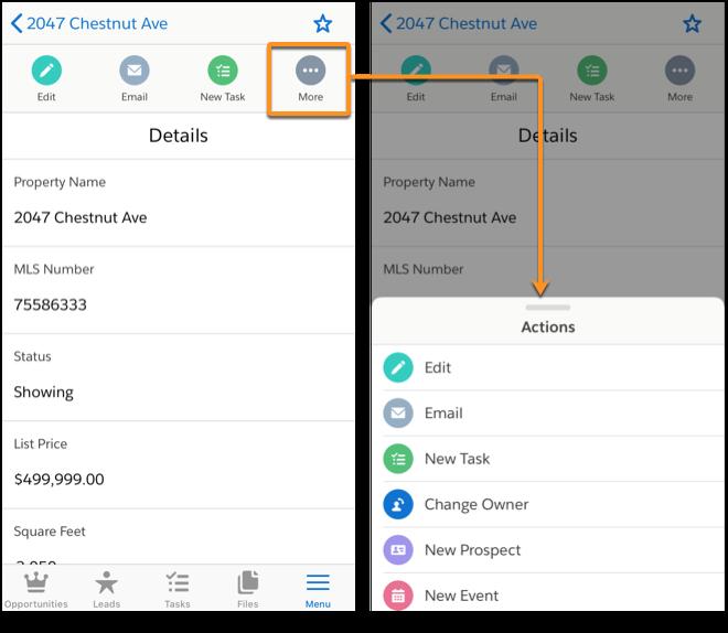 La barre d'actions et le menu d'actions de l'application mobile Salesforce