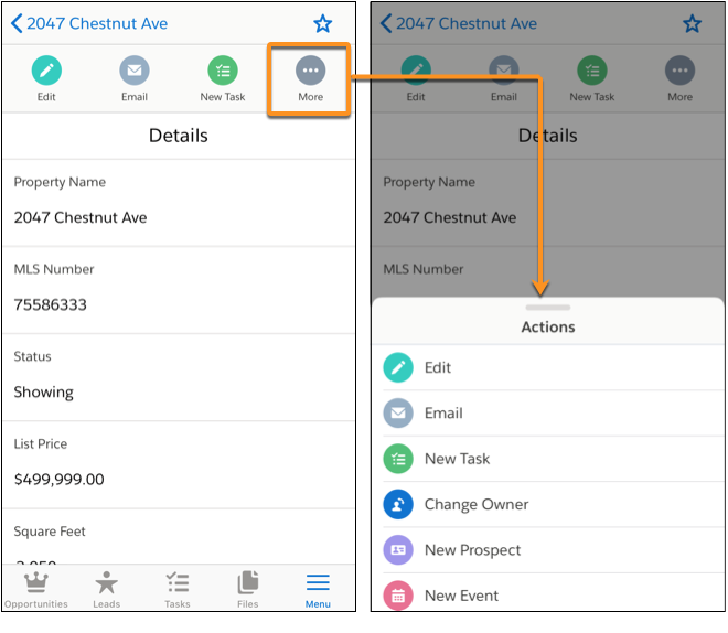 A barra de ação e o menu de ação no aplicativo móvel Salesforce