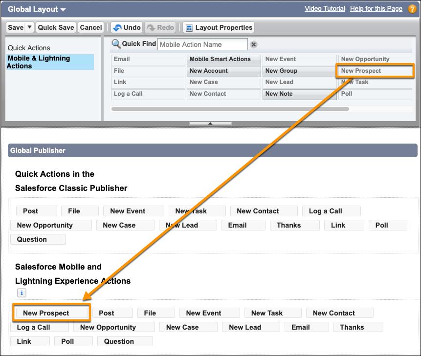 Captura de tela da ação Novo cliente em potencial no layout global de editor