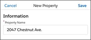 A screenshot of the property detail page in the Salesforce mobile app
