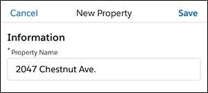 Una captura de pantalla de la página de detalles de propiedad en la aplicación móvil Salesforce