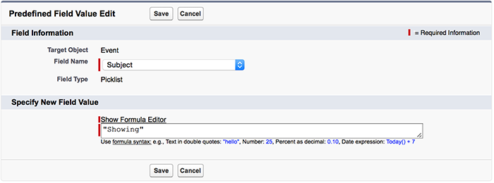 A screenshot of the predefined value for the Subject field