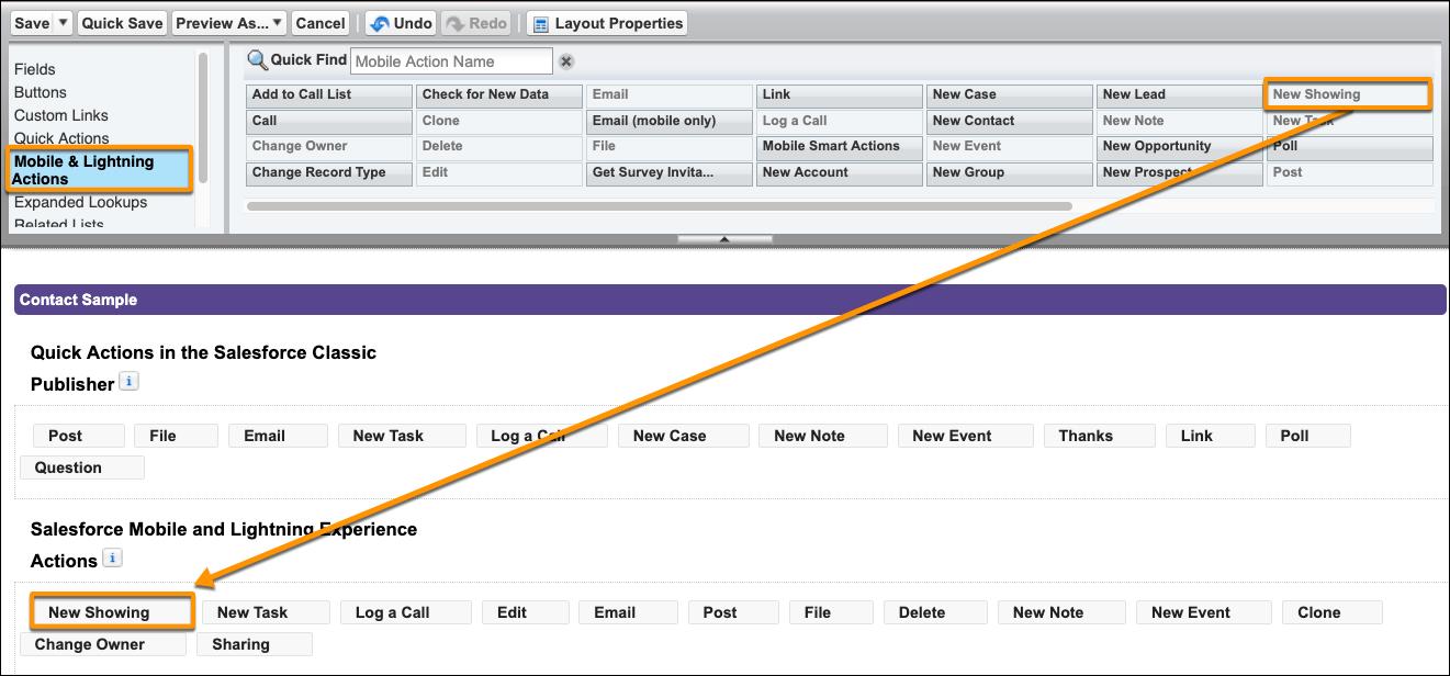 取引先責任者ページレイアウトの Salesforce1 のセクションにドラッグされた [New Showing] アクションのスクリーンショット