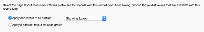 新しいレコードタイプに対するページレイアウトの割り当てのスクリーンショット
