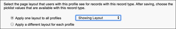 Captura de tela da atribuição de layout de página ao novo tipo de registro