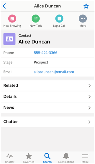 The contact record page shows key details